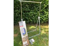 Folding and Height Adjustable Clothes Rail with Box and Instructions