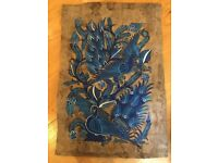 Mexican Art 69cm x 40 cm 'Papiro' Blue hand painted in blue colours