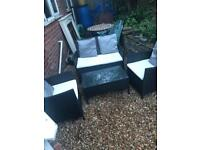 4 piece rattan garden set with extra cushions