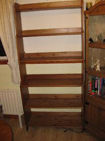 antique pine finish bookcase