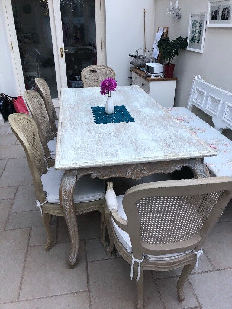 Dining Room Table With 5 Chairs And Bench French Chateau Style