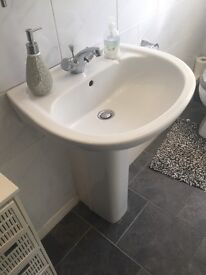 SOLD White toilet and sink bathroom suite