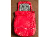 Universal fleece lined pushchair footmuff, red