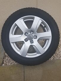 "SET OF 4 ORIGINAL AUDI 6 SPOKE 17"" ALLOYS COMPLETE WITH DUNLOP WINTER TYRES"