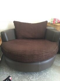 Brown swivel / cuddle chair from DFS - GC