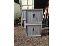 10 X stationary cupboards tambours with filers or shelves. Delivery