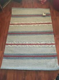 Brand new 100% wool Next rorbuer rug - white blue red striped