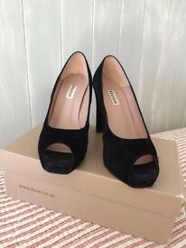 Black suede peep toe heels. Chic and stylish. Dune size 5.