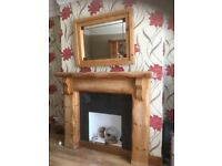 Fireplace + coffee table +mirror + storage unit