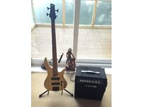 Ibanez SR600 bass guitar, amp and hard case