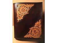 Hand Carved Leather Ring Binder A5. £55 per binder.