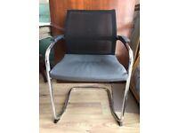 1 AVAILABLE - Grey SEDUS Office Chair - Leather Seat - Mesh Back / Chrome Legs