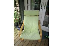 Ikea Poang lime green suede chair