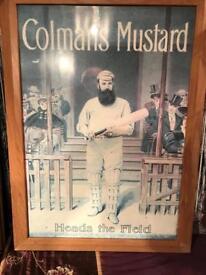 "Framed Colmans Mustard "" Cricket "" Picture"
