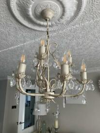 2 Dunelm 9 arm chandeliers in cream and gold price is for both