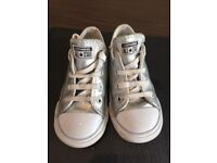 Kids converse, metallic silver /leather wipe clean infant size 8