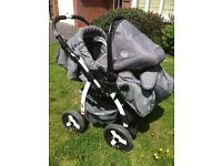 All in 1 pram. Stroller, car seat slots in,Moses basket, rain cover,bag which fits + mesh and basket
