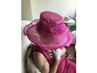 Wedding hat, fuchsia pink