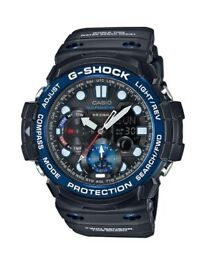 Casio G Shock Gulfmaster Black Multi Dial Blue Bezel Black Strap Mens Watch