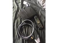 New and unused alba free view box with remote, and scart lead