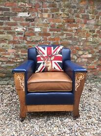 Rare and unique 1940's vintage armchair. Pair available. Can deliver