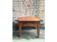 Square Solid Mahogany Coffee Table with Drawer on Four Tapered Square Section Supports.