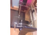 Glass extended dinning table with four chairs brought originally from Argos good condition