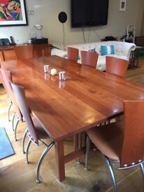 Solid cherry wood dining table and 8 chairs - £475 or ono
