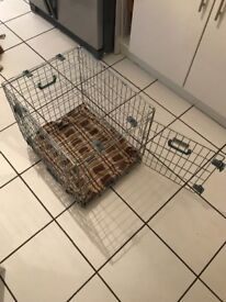 Puppy crate, poo bags, training pads and lead