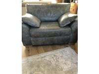 Brand New Next Leather Garda 2 seater snuggle chair/ sofa in antique grey