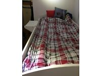 High sleeper bed in white with desk and wardrobe, v good condition