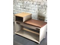 Phone Table Hall Table Seat Chair Leather Pistachio
