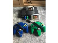 N64 with 2x controllers, 2 games and SCART adapter