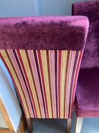 Willis & Gambier dining chairs Shiraz velvet stripe