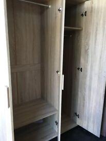 Triple wardrobe, light oak colour