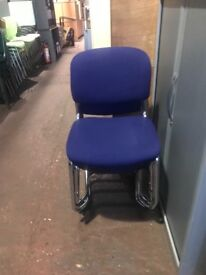 Stackable Purple & Chrome Canter Leaver Chairs