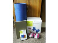 Fitness set. Dumbell set, pilates stretch bands, pair of ankle weights, exercise mat,Yoga block.