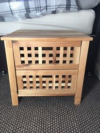 2 wooden bedside tables