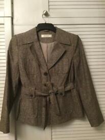 Ladies Cotton/ Linen Blend Jacket/ Suit- Petite Size 12 in Stone/Brown