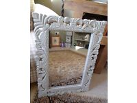 "LOVELY QUALITY ORNATE WOODEN MIRROR 22"" x 16"" IDEAL BEDROOM BATHROOM HALLWAY EXCELLENT CONDITION"