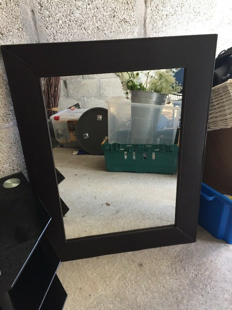 Two large dark brown faux leather mirrors - £10 each or both for £18