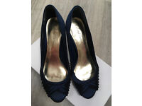 Roland Cartier Navy Pleated Peep Toe Shoes