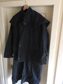 Waxed cotton riding coat