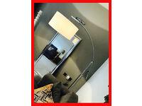 Designer Chrome Weighted Arc Floor Lamp Reading Light Cream Shade Lounge Modern Contemporary