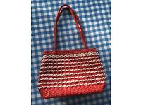 Woven effect bag - red and white