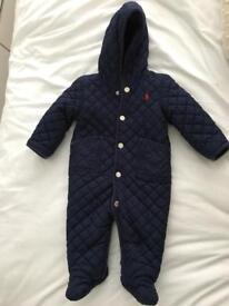 Baby boys Ralph Lauren snowsuit winter coat navy blue 6 months