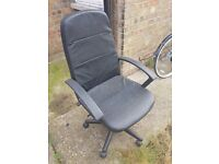 Black Swivel Desk Chair - Faux Leather
