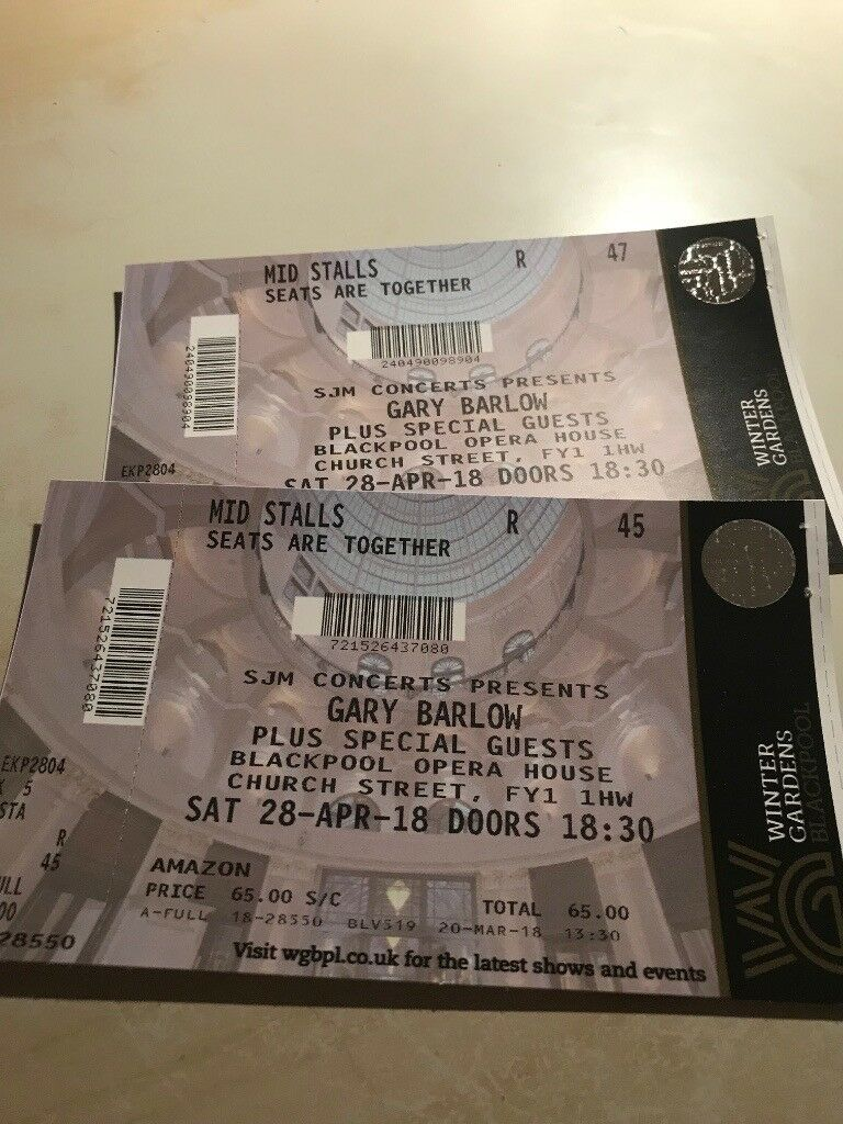 2x Tickets for Gary Barlow at Winter Gardens Blackpool Sat 28/04/2018