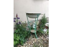Vintage Green Shabby Metal WASH STAND Bowl Primitive Outdoor Garden Decor