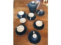 Twin tone Poole pottery espresso 6 cups saucers coffee pot sugar bowl